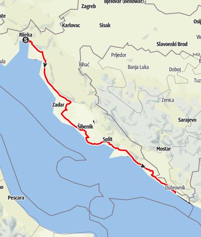 Karte Montenegro Kroatien.Adriatische Kustenstrasse Panoramastrasse Outdooractive Com