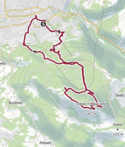 Map / Beautiful dayhike from Sarajevo city to the top of Trebević mountain