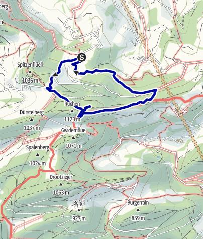 Karte / Mythische Orte am Oberrhein - Die Belchenfluh