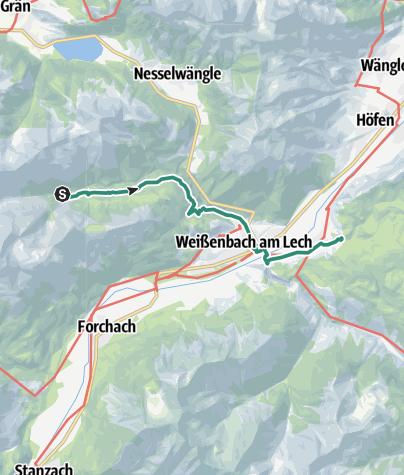 Map / Via Alpina: Höflis Hütte - Riedener See (day 87)