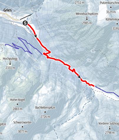 Karte / Rodelbahn Sulztalalm - Längenfeld/Gries