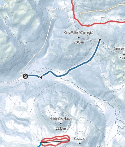 Map / Snowshoe trek to Cima del Lago