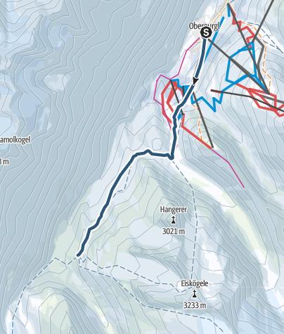 Map / From Obergurgl to Karlsruher Hütte | Langtalereckhütte