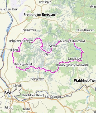 Karte / Das Markgräflerland und die Schwarzwaldseen