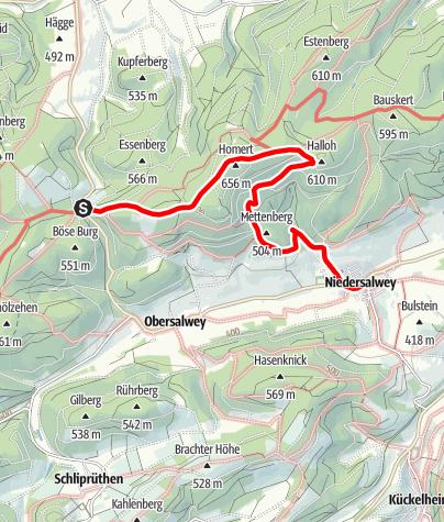 """Karte / Wandertaxi """"Höhenflug"""": Vom Birkenbrauck nach Niedersalwey"""