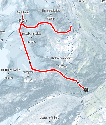 Map / From Fluchtkogel to Vernagthütte