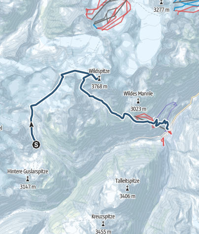 Map / Via Wildspitze back to  Vent