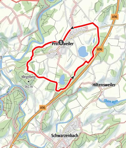 """Karte / Wanderrundweg 11: """"Rund um Primisweiler"""""""