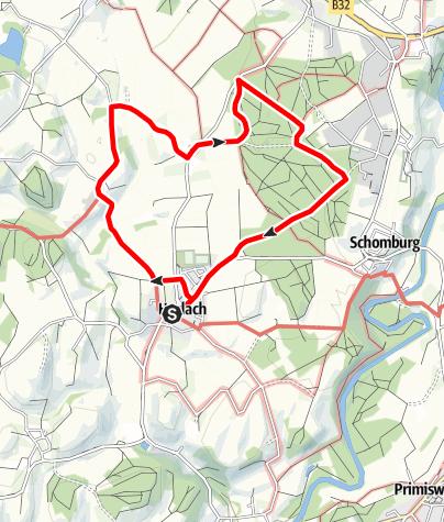 """Karte / Wanderrundweg 13: """"Über Siglisberg nach Haslach"""""""