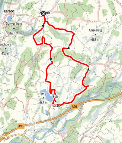 """Karte / Wanderrundweg 14: """"Auf die Höhen zum Röhrenmoos und Steinberg"""""""