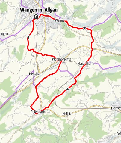 Karte / Radrundweg R2:  Maria Thann - Opfenbach - Wohmbrechts