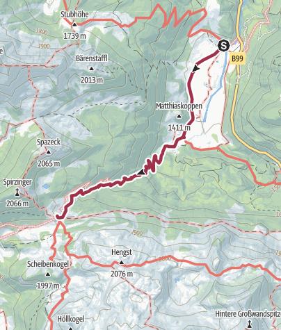 Karte / Von der Vordergnadenalm zur Südwienerhütte