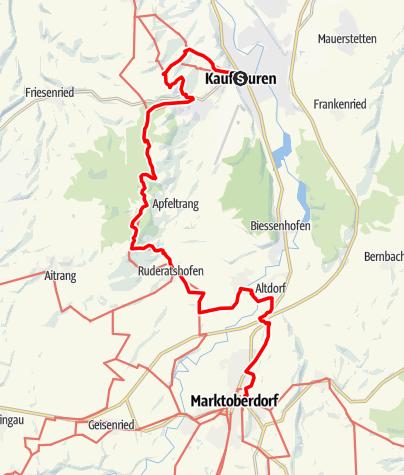 Karte / Martinusweg - Etappe von Kaufbeuren nach Marktoberdorf
