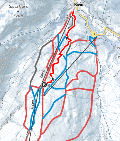 Karte / Schlittelweg Bivio