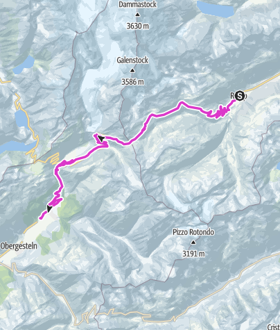 Karte / Furkapass: Realp - Oberwald
