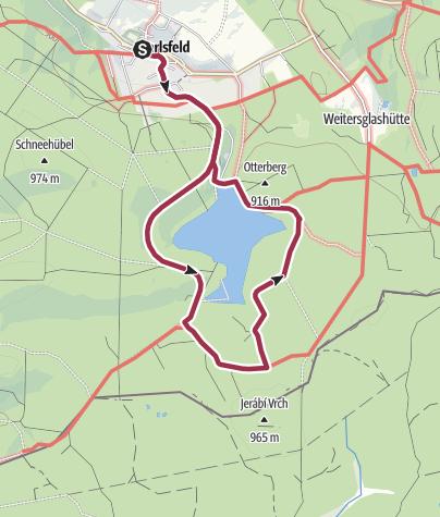 """Karte / """"Zu den Hochmooren am Erzgebirgskamm"""" (Rund um die Talsperre Carlsfeld)"""
