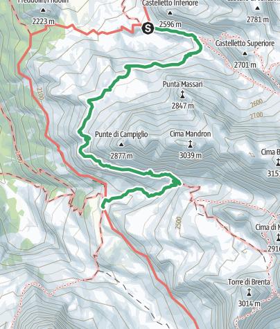 Cartina / Sentiero attrezzato SOSAT, via ferrata nelle Dolomiti di Brenta