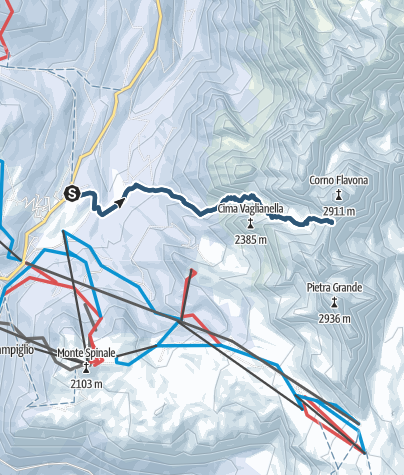 Map / Ski mountaineering in the Val Gelada