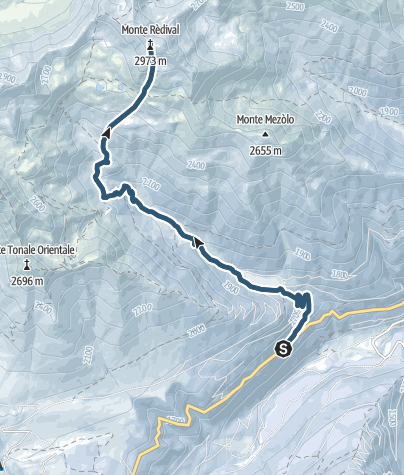 Map / Scialpinismo sul Monte Redival