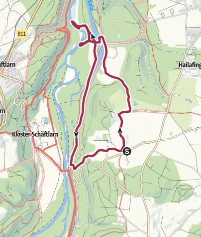 Karte / Von Beigarten nach Mühlthal an die ursprüngliche Isar