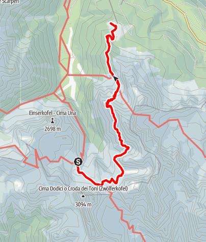 Map / Dolomites without borders - Stage 4: Rifugio Comici - Rifugio Prati di Croda Rossa   Rifugio Rudi