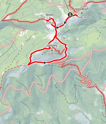 Karte / Wanderung über Alpspitze und Edelsberg