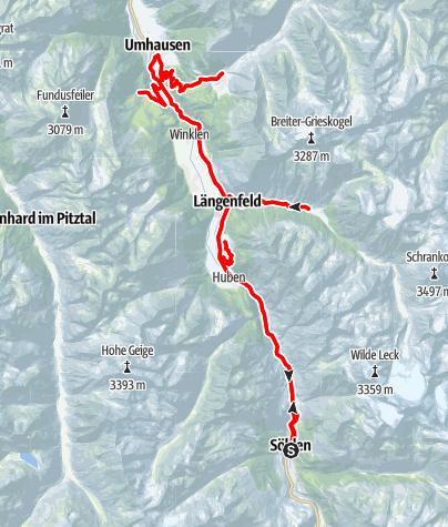 Map / Rennradtour kleiner Ötztaler - die 4 Bergdörfer Tour