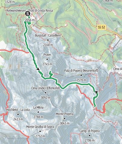 Cartina / Dolomiti senza confini, 5. tappa: Rifugio Prati di Croda Rossa | Rifugio Rudi - Rifugio Berti