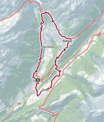 Karte / Rundwanderung über die Aspi-Titter Hängebrücke und Goms-Bridge