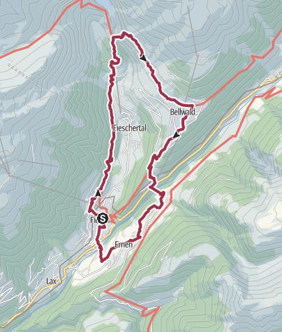Karte / Rundwanderung über die Aspi-Titter Hängebrücke und Goms Bridge