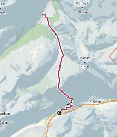 Karte / Walserweg Graubünden Etappe 2: Von Hinterrhein nach Vals