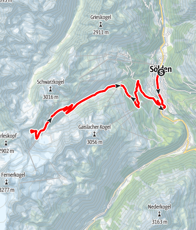 Karte / Rennradtour - Sölden - Ötztaler Gletscherstraße zum Rettenbachgletscher