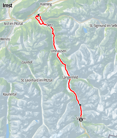 Karte / Rennradtour - Sölden - Area 47