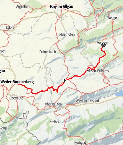 Karte / Weitnau - Simmerberg Jakobusweg im Allgäu