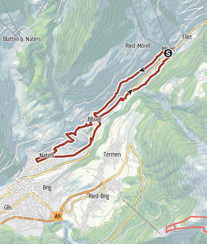 Map / Circular hike from Mörel-Filet to Salzgäb, Bitsch, Naters and back