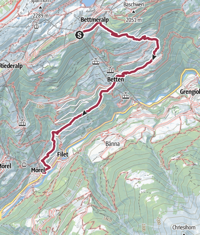 Karte / Wanderung von der Bettmeralp über Betten Dorf nach Mörel-Filet
