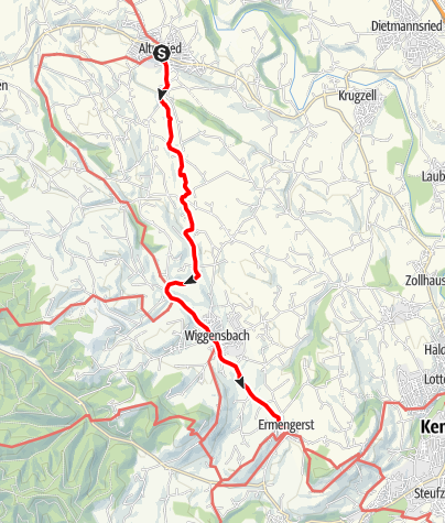 Karte / Jakobsweg im Allgäu Etappe Altusried - Wiggensbach