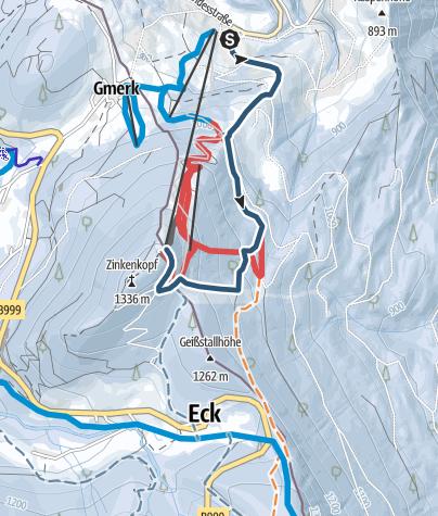 Karte / Skitour von Bad Dürrnberg zum Zinkenstüberl