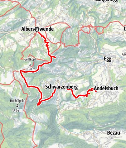 Karte / Alberschwende | Sagenweg von Alberschwende bis Andelsbuch