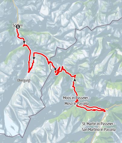 Karte / Rennradtour Timmelsjoch Hochalpenstraße - Sölden - St. Leonhard