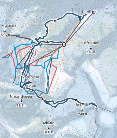 Karte / Wilder Pfaff 3456m und Schaufelspitze 3332m