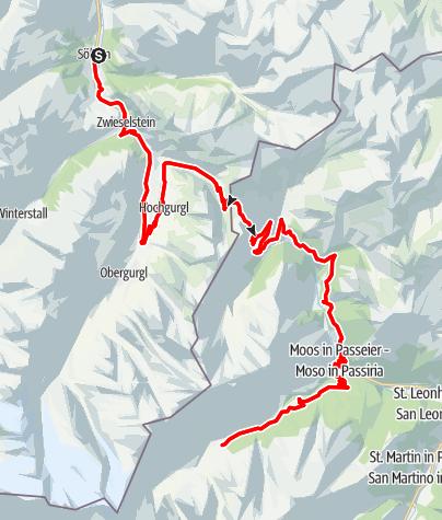 Karte / Rennradtour Timmelsjoch Hochalpenstraße - Sölden - Pfelders