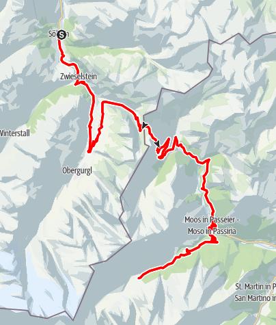 Map / Rennradtour Timmelsjoch Hochalpenstraße - Sölden - Pfelders