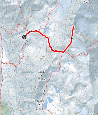 Karte / Von der Oberetteshütte zur Südlichen Schwemmserspitze 3296m