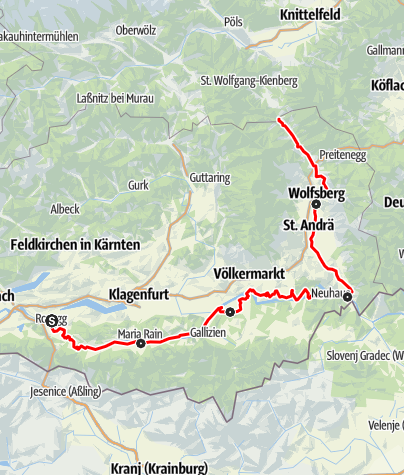 Karte / Gesamtetappe Via Carinzia