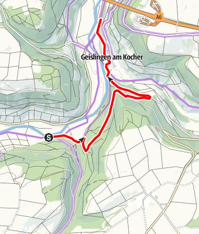Karte / Kocher-Jagst-Radweg_Umleitung Sanierung Brücke zwischen Enslingen - Geislingen