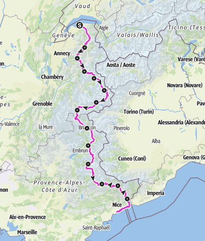 Map / Route des Grandes Alpes: the most beautiful alpine cycling adventure !