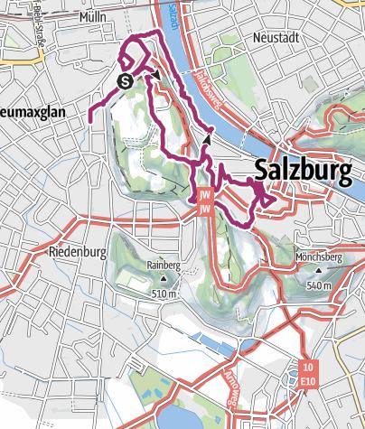 Map / Stadtwanderung über den Mönchsberg