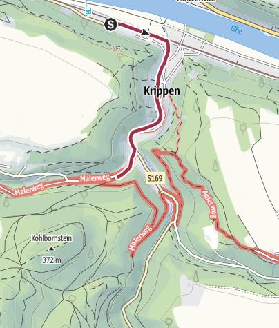 Karte / Krippen Bahnhof bis Einstieg Malerweg
