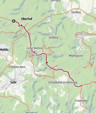 Map / Wanderung - Rennsteig - Etappe 4 - Grenzadler nach Allzunah